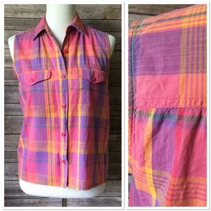 Vintage Pink Plaid Button Front Tank Top Shirt M